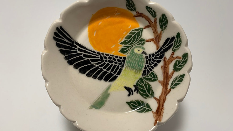 Green Bird with Orange Small Dish
