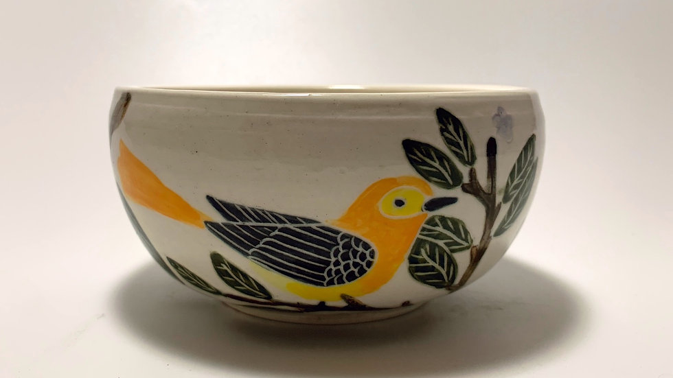 Orange Birds with Lemon Small Cereal Bowl
