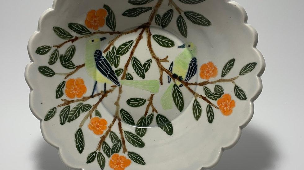 Green Birds with Orange Flowers Bowl