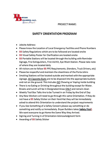 Bryan Builders Safety Orientaion Program