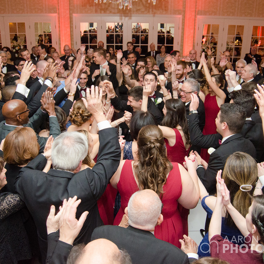 wedding guests dance with bride and groom at center