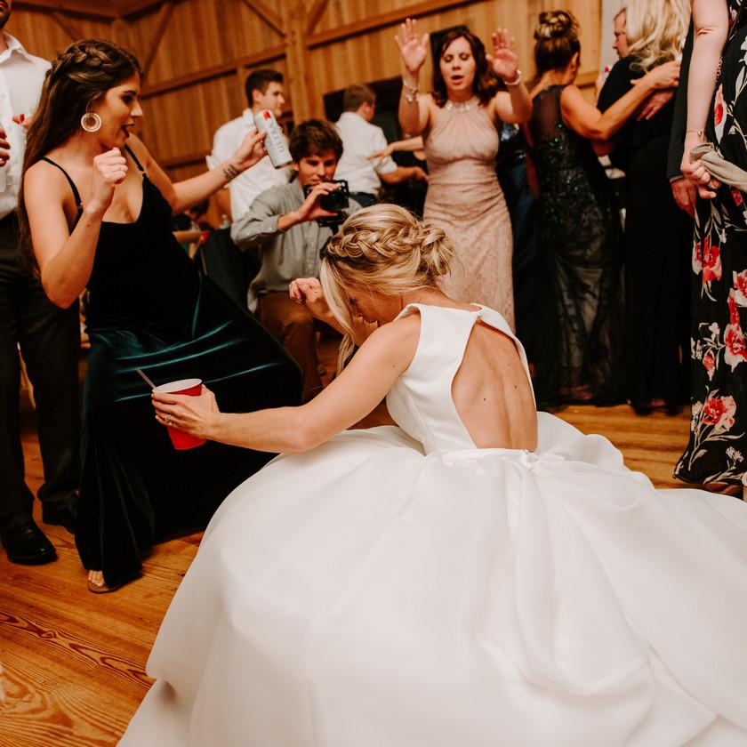 bride dancing low