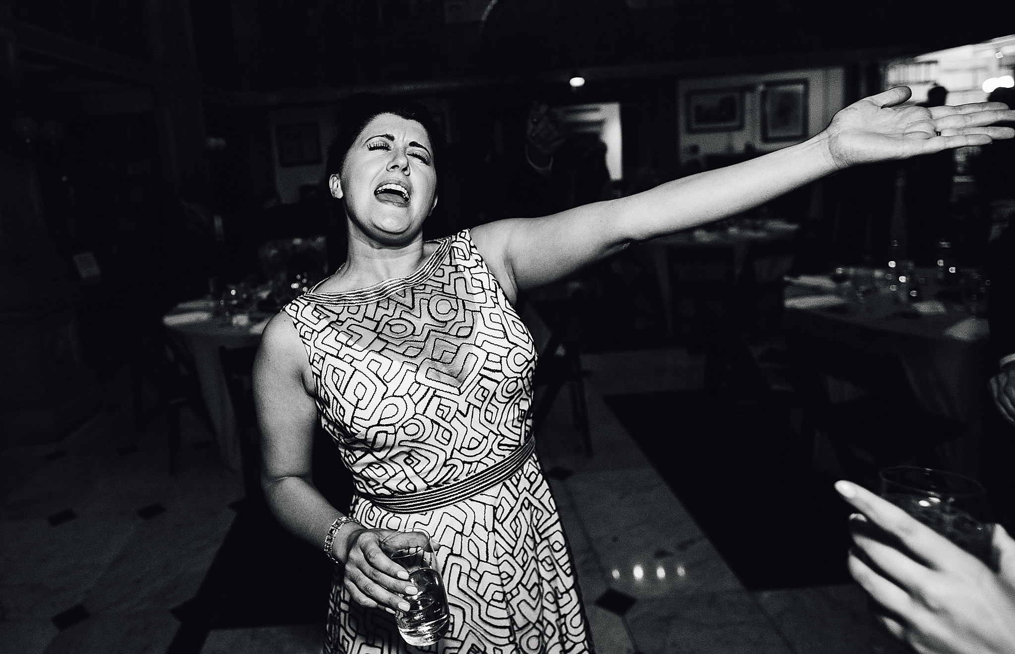 bride sings while dancing at wedding