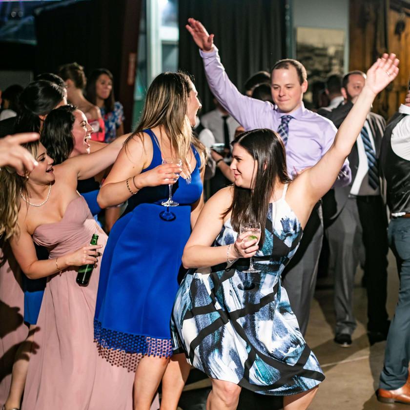 women dancing at wedding