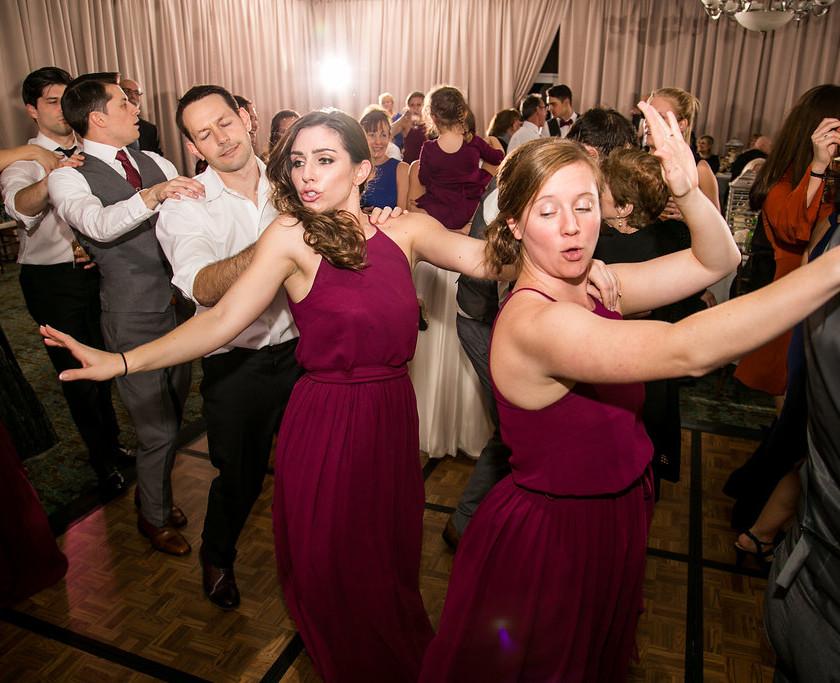 wedding guests form conga line