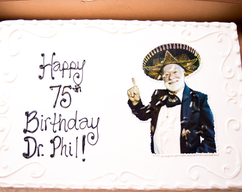 Birthday cake with man wearing sombrero