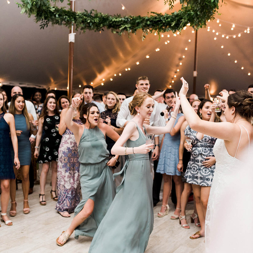 bride and bridesmaids dance with guests