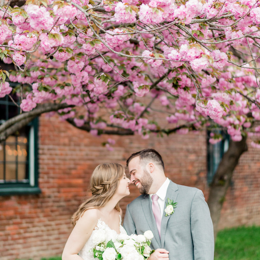 bride and groom about to kiss under cherry blossom tree