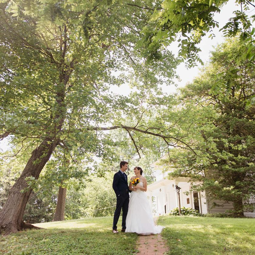 bride and groom pose underneath trees