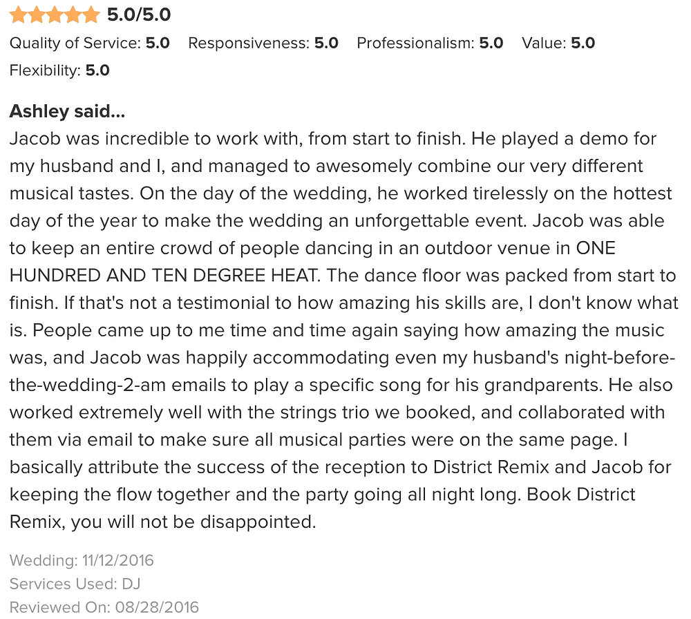 Wedding Wire Review of DJ