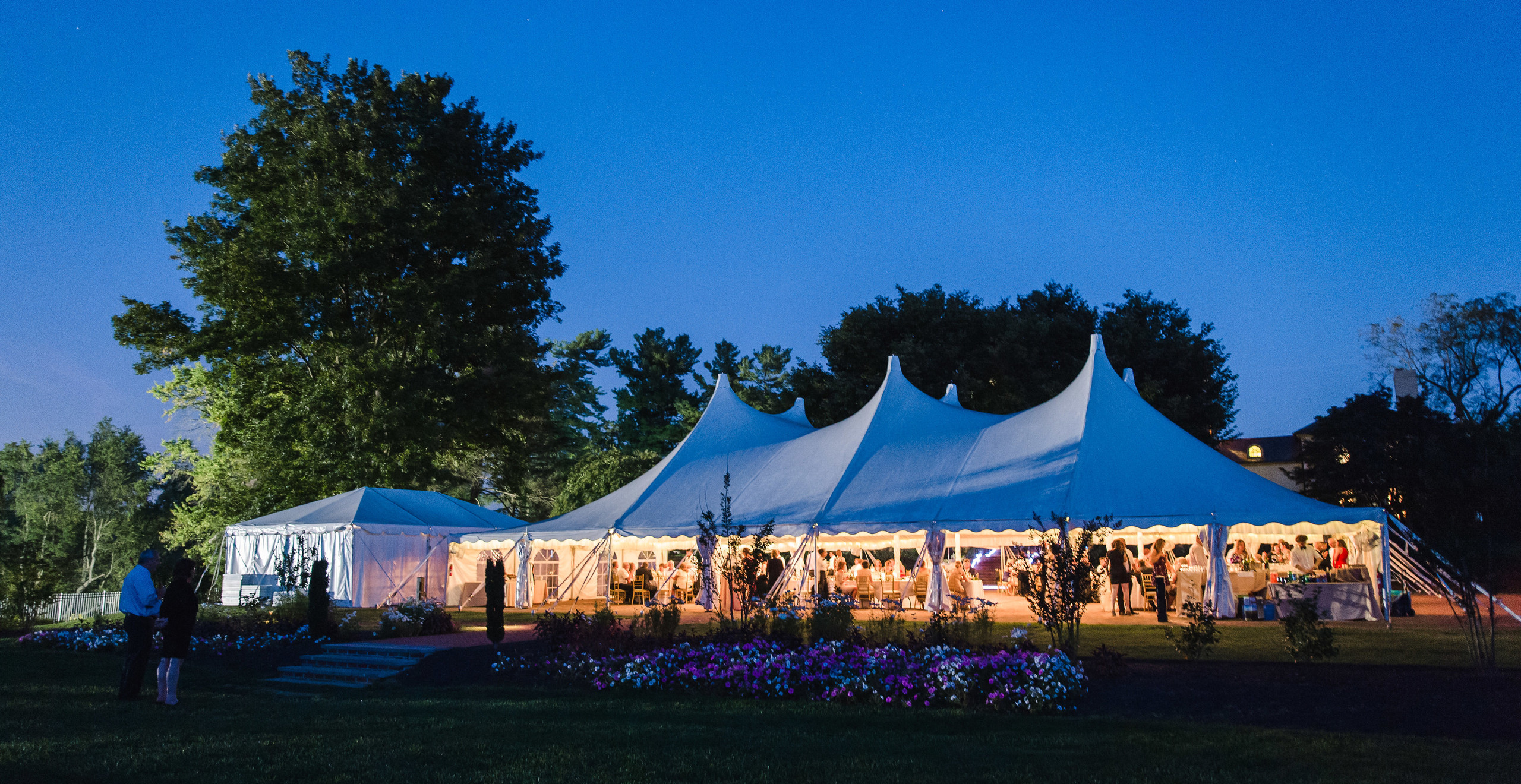 the wedding tent at dusk