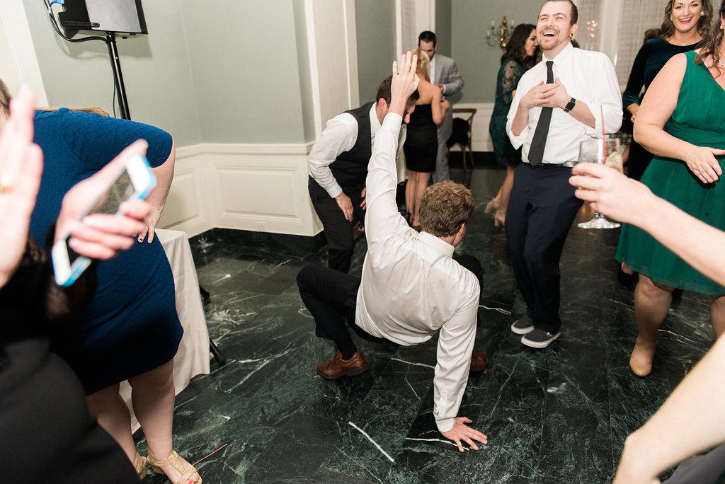 guests getting low on dance floor
