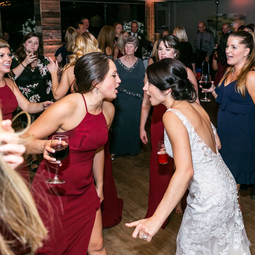 bride, bridesmaids and women dance at wedding
