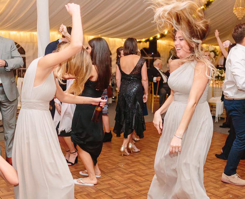 bridesmaids dancing wildly
