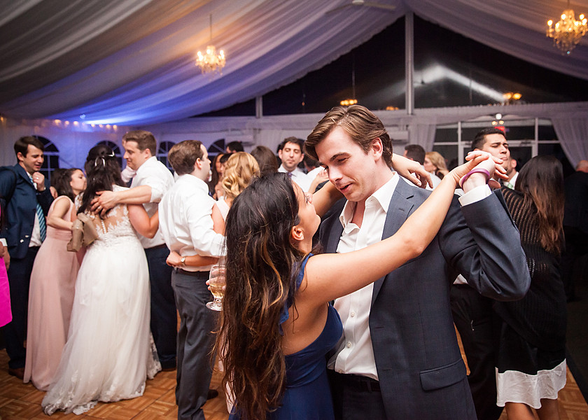 wedding guests slow dance