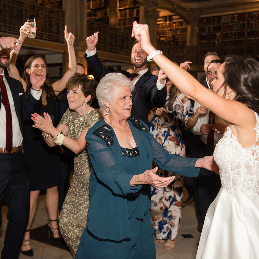 grandma dancing on Peabody Library reception