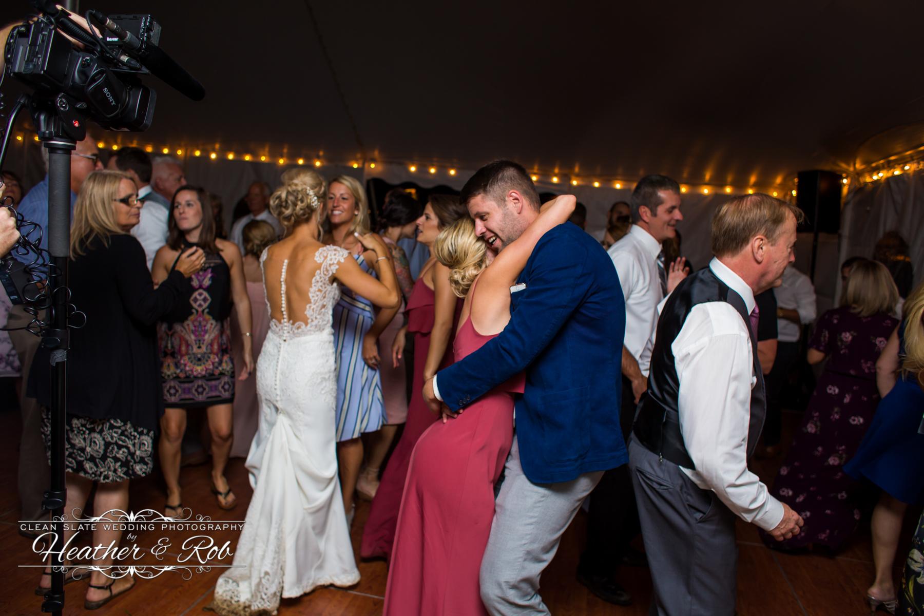 wedding guests slow dancing