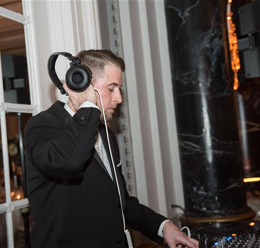dj spins music at wedding