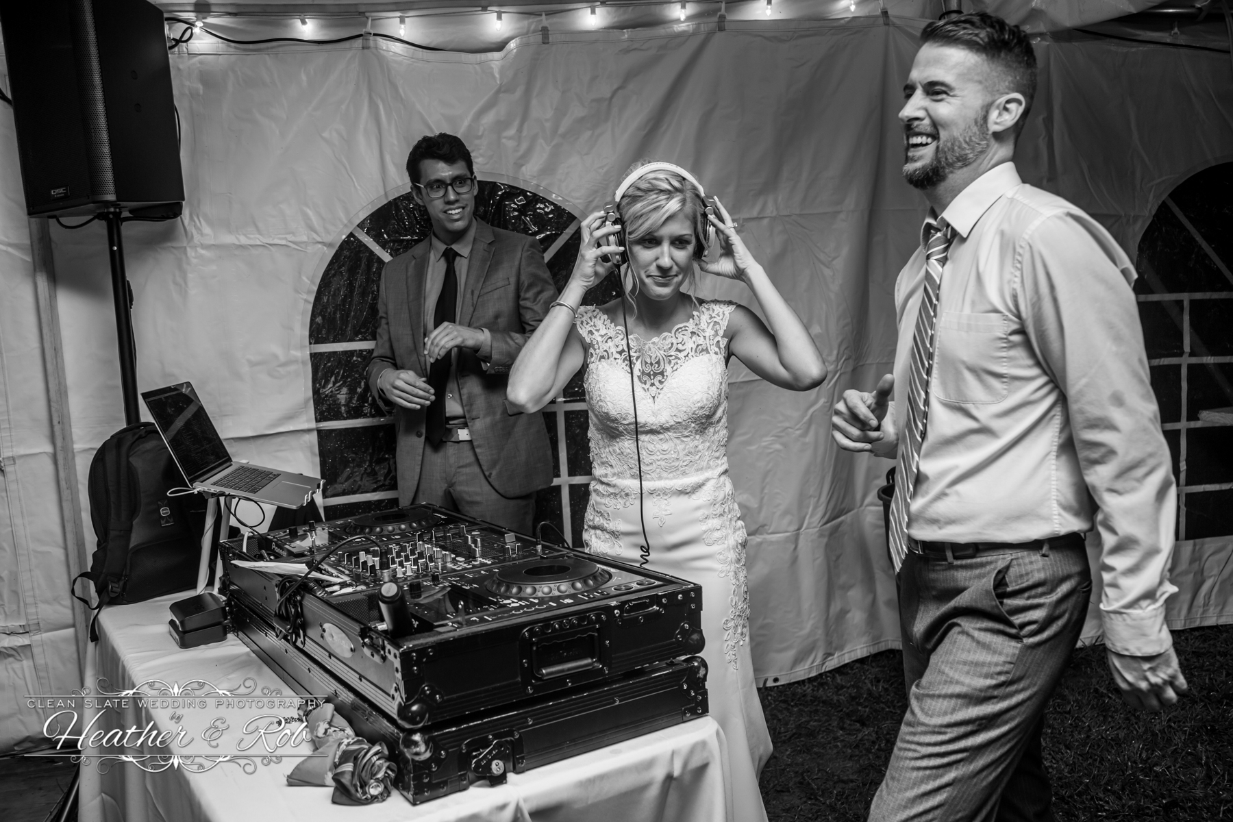 bride trying on headphones by dj