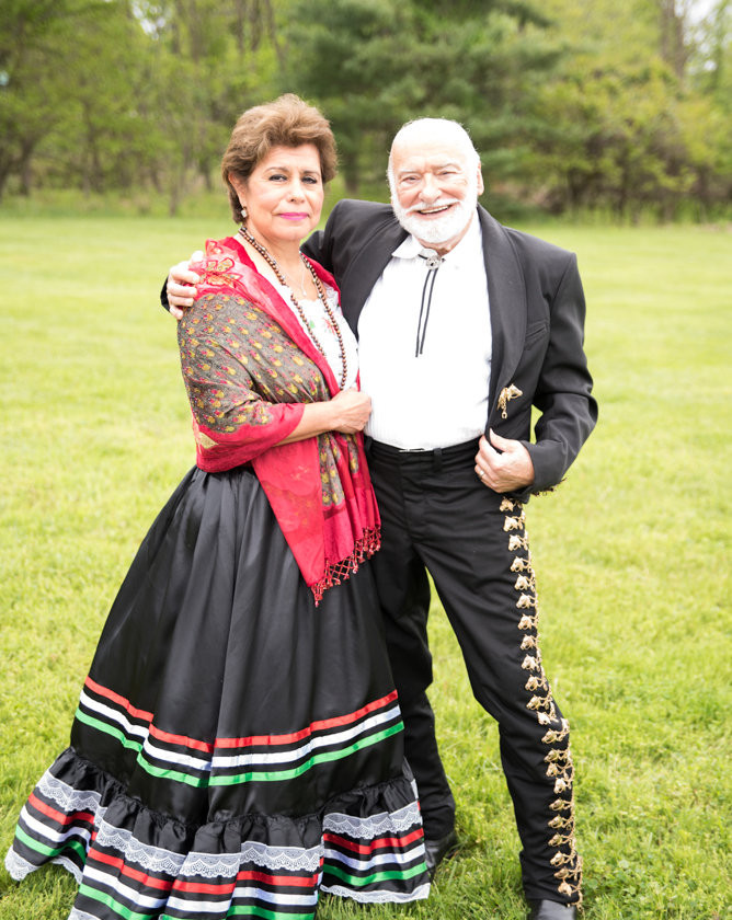 man and woman wearing old spanish style clothing
