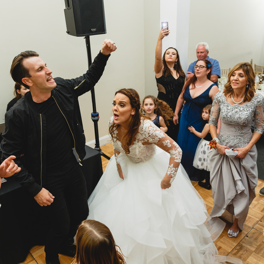 russell dickerson partying with bride and groom
