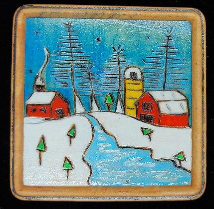 Winter Farm Yellow     #E5  4x4