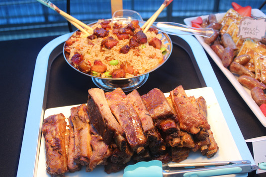 St. Louis Rib, fried rice with Chefs line cubed Pork Belly