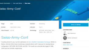 Swiss-Army-Conf: My New Network Automation Tool on Cisco DevNet Automation Exchange
