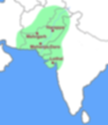 This is a graphic map of Ancient India showing the major cities