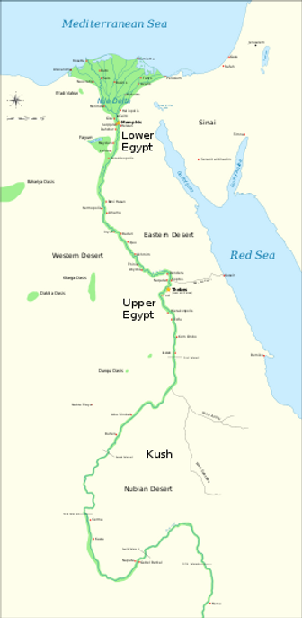 Map of Lower and Upper Egypt