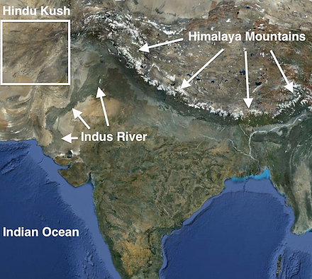 This is a satallite map of South Asia.