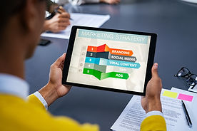 Image of digital marketing strategy on an tablet.