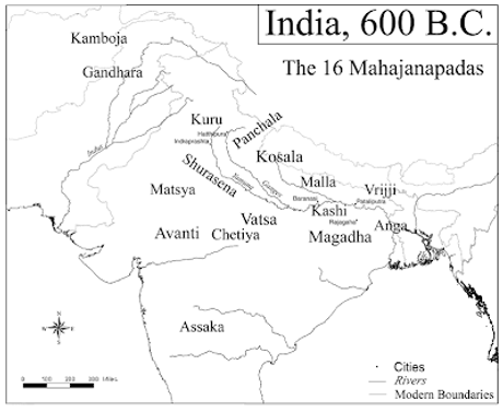 Map of India kingdoms in 600 BCE