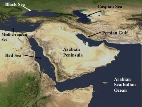 Southwest Asia satallite map
