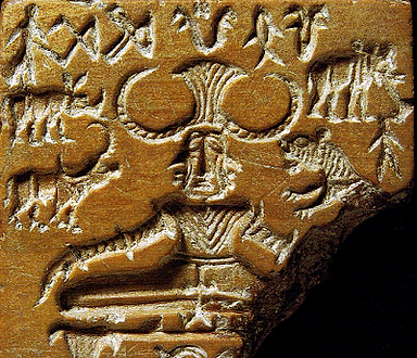 This is a picture of an impression showing Early Hinduism symbols