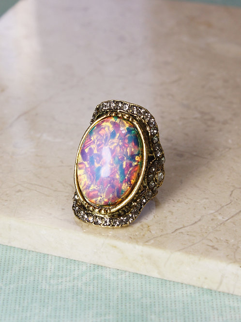 Aria Ring in Pink Opal