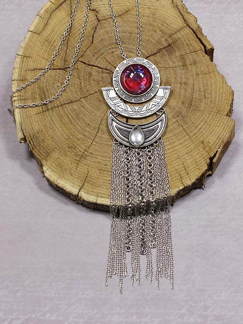 Aria Necklace in Red Opal