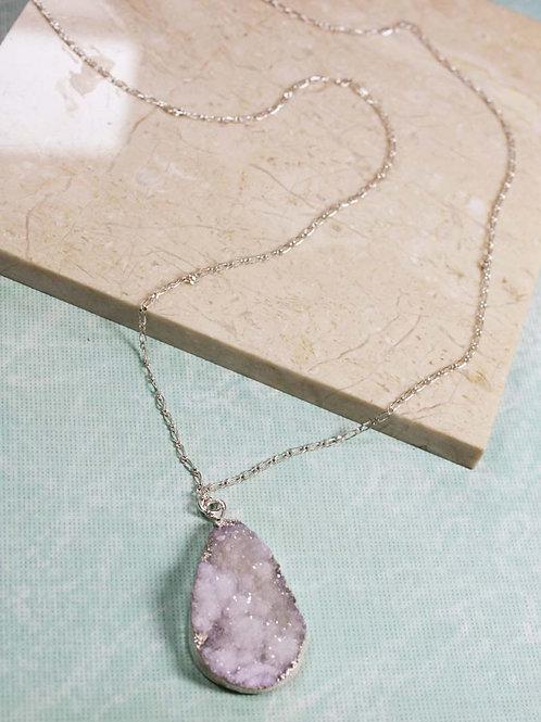 Druzy Necklace in Grey