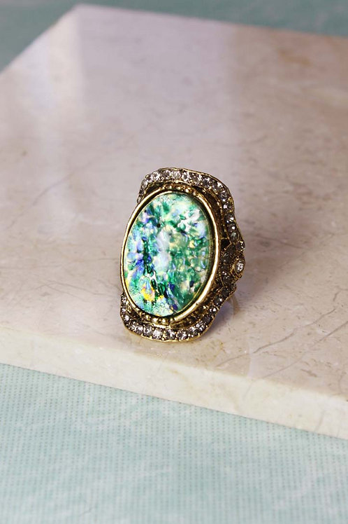 Aria Ring in Green Opal