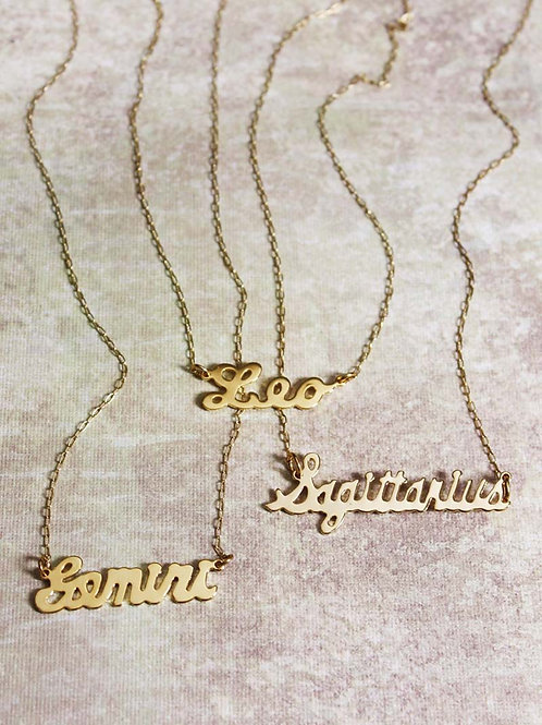 Zodiac Script Necklace