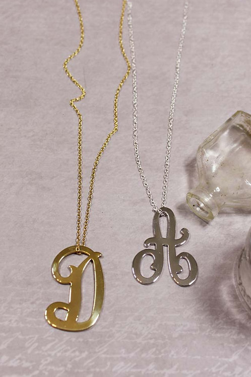 Large Script Initial Necklace in GOLD
