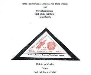 1936 U.S. to Mexico 50 cent rocket mail vignette