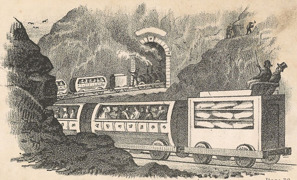 """Illustration for """"The Celestial Rail-road"""" from the Sunday School Union, 1844"""