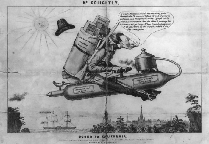 A. Donnelly, Mr. Golightly Bound to California, print, 1849