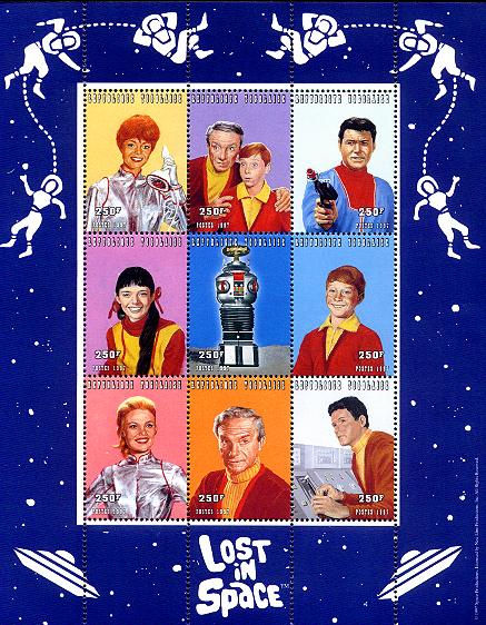 Togo souvenir sheet of nine 250 franc stamps of Lost in Space characters 1997