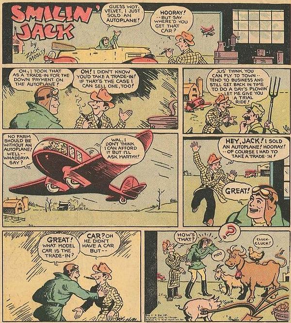 Smilin' Jack, January 26, 1936, reprinted in Popular Comics #20, July 1937
