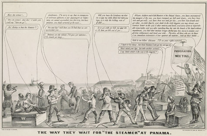 "Nathaniel Currier, print, The Way They Wait for ""The Steamer"" at Panama,1849"