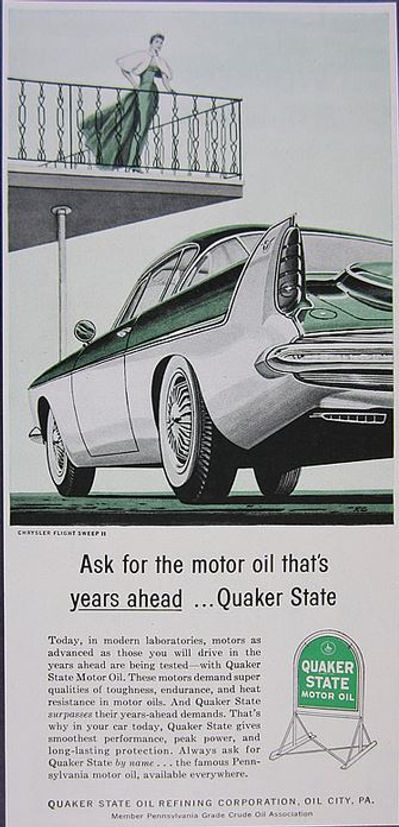 1955 Quaker State Motor Oil Chrysler Flight Sweep II