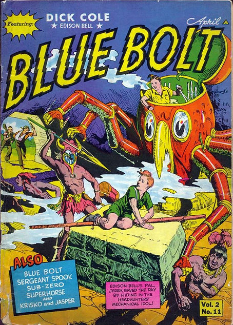 Blue Bolt #23, April 1942, cover featuring Edison Bell