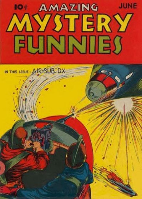 Amazing Mystery Funnies #10, June 1939, cover art by Bill Everett